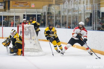 Kunlun Red Stars forward Jessica Wong (49) controls the puck for the red stars while being defended by Boston Blades defender Kristina Brown (24)