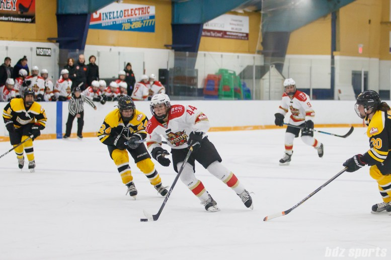 Kunlun Red Stars forward Zoe Hickel (44) breaks away towards the Boston Blades goal