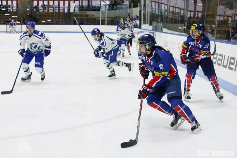 Team South Korea forward Hye In Ko (2) controls the puck for South Korea