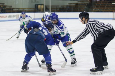 Team South Korea forward Soo Jin Han (17) takes the faceoff against Connecticut Whale forward Juana Baribeau (25)