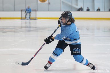 Buffalo Beauts forward Jess Jones (32) centers the puck