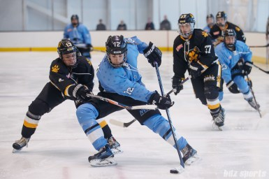 Buffalo Beauts forward Rebecca Vint (12) controls the puck while Boston Pride forward Kaleigh Fratkin (13) defends