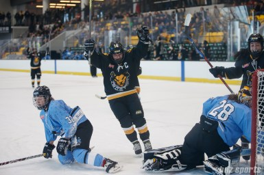 Boston Pride forward Jillian Dempsey (14) celebrates her goal against the Buffalo Beauts