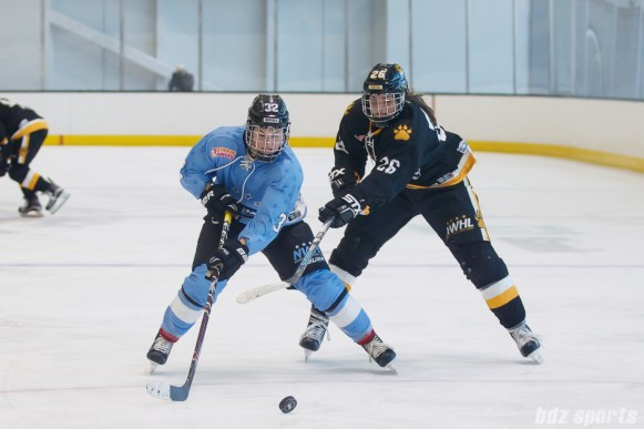 Buffalo Beauts forward Jess Jones (32) looks to maintain possession of the puck while Boston Pride forward Janine Weber (26) defends