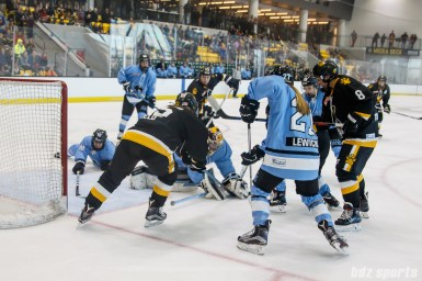 Buffalo Beauts goalie Amanda Leveille (28) covers the puck