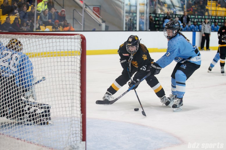 Boston Pride forward Emily Field (15) looks to put away the puck while being defended by Buffalo Beauts defender Sarah Edney (3)