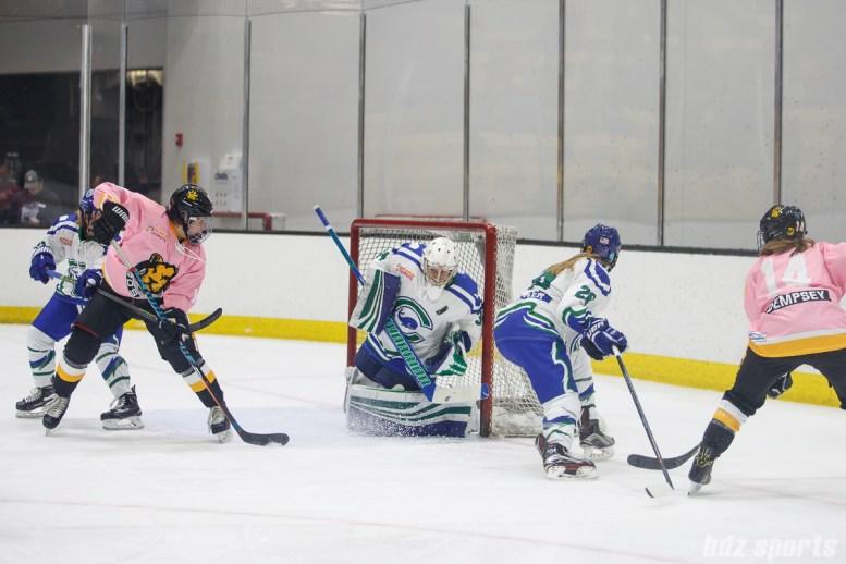 Connecticut Whale goalie Sydney Rossman (34) stops the puck