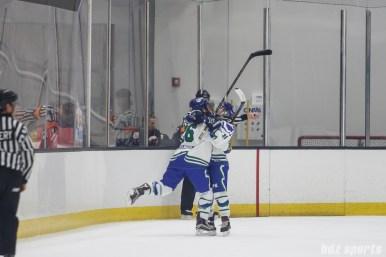 Connecticut Whale defender Jordan Brickner (26) celebrates her game-tying goal with teammate forward Emily Fluke (11) who got the assist