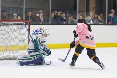 Connecticut Whale goalie Sydney Rossman (34) blocks the shootout shot attempt from Boston Pride forward Dana Trivigno (8)