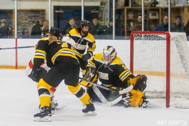 Boston Blades goalie Lauren Dahm (35) comes up with the save