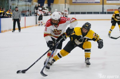 Kunlun Red Star forward Rachel Llanes (91) looks to maintain possession of the puck while being pressured by Boston Blades defender Kristina Brown (24)