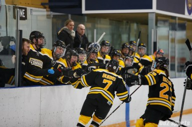 Boston Blades defender Dru Burns (7) celebrates her goal by high fiving the bench