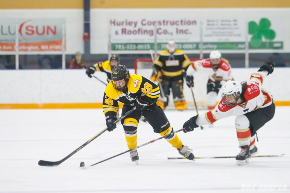 Boston Blades forward Kate Leary (28) looks to get past Kunlun Red Star defender Melanie Jue (6)