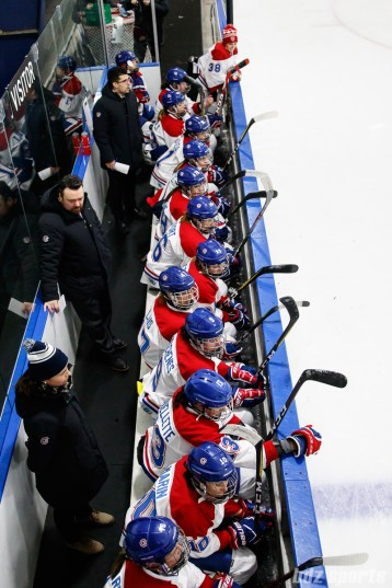 The Montreal Les Canadiennes bench