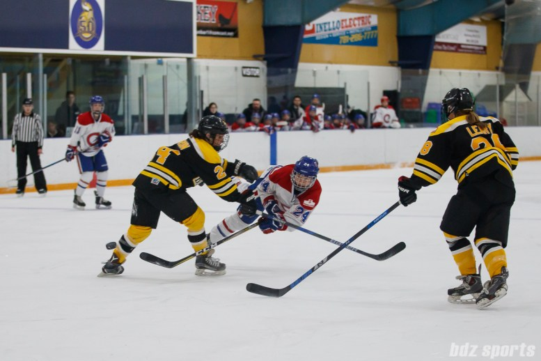 Montreal Les Canadiennes forward Ann-Sophie Bettez (24) dives to take a shot on goal