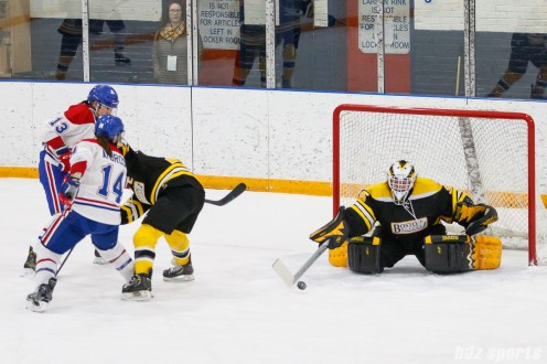 Boston Blades goalie Lauren Dahm (35) looks to clear the puck out of danger