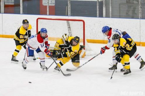 Boston Blades defender Meaghan Spurling (20) clears out the puck
