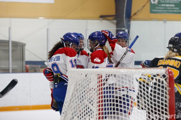The Montreal Les Canadiennes celebrate Katia Clement-Heydra's (19) goal