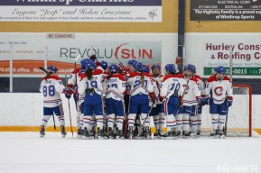 The Montreal Les Canadiennes celebrate their 6-0 win over the Boston Blades