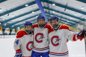 The three stars of the game (L-R): Montreal Les Canadiennes forward Ann-Sophie Bettez (24), Caroline Ouellette (13), and Sarah Lefort (16)