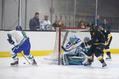 Connecticut Whale goalie Sydney Rossman (34) looks on as defender Shannon Doyle (6) possesses the puck