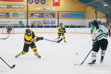 Boston Blades forward Kate Leary (28) takes a shot on goal