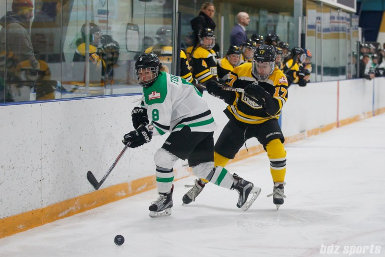 Markham Thunder defender Laura Fortino (8) and Boston Blades forward Meghan Grieves (17)