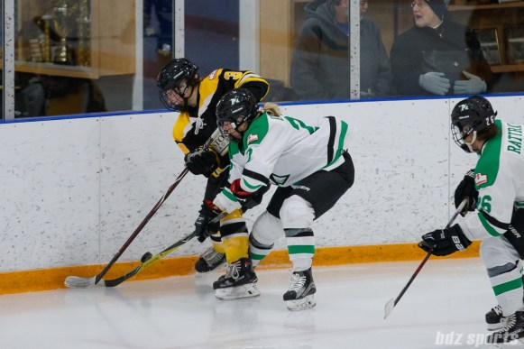 Boston Blades forward Courtney Turner (3) and Markham Thunder forward Nicole Kosta (22) battle for the puck along the boards