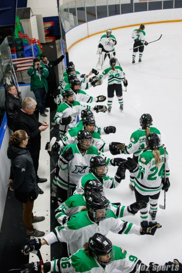 The Markham Thunder celebrate forward Laura Stacey's (7) goal