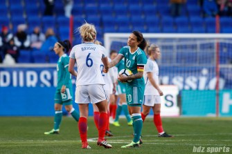 Team Germany midfielder Dzsenifer Marozsan (10) shakes hands with Team England defender Millie Bright (6) after Germany tied England 2-2 in their second match of the SheBelieves Cup