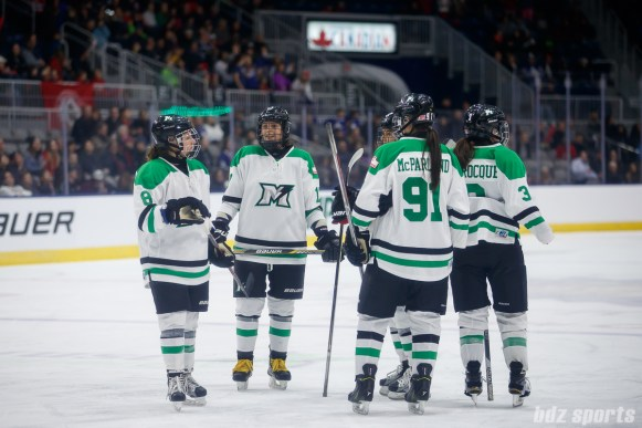 Markham Thunder players wait out a media time-out