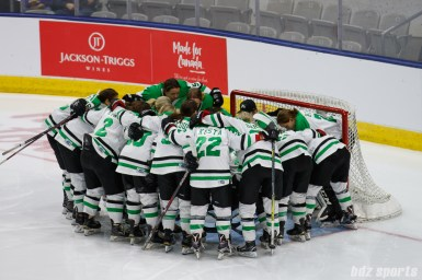 The Markham Thunder huddle before the start of the Clarkson Cup Final