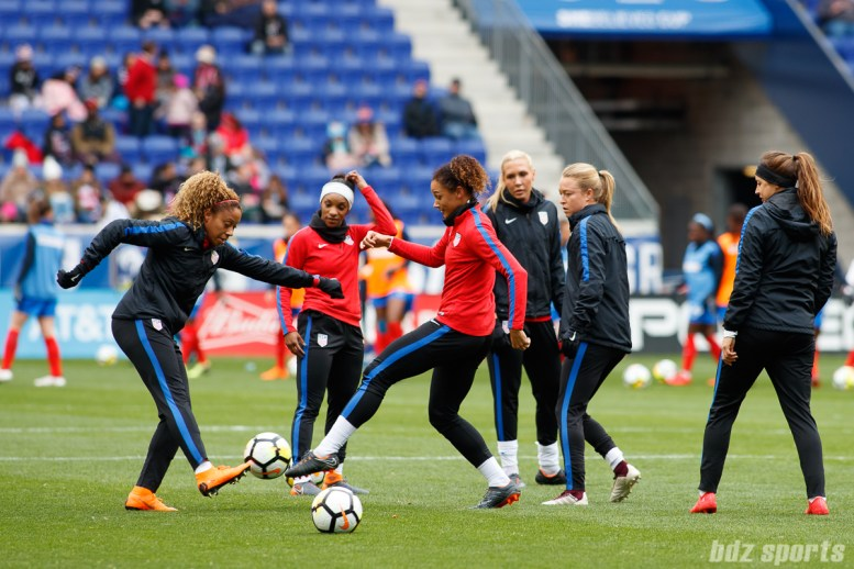 The U.S. women's national soccer team warms up prior to their game against France on March 4, 2018 at Red Bull Arena in Harrison, NJ.