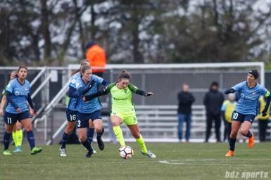 Seattle Reign FC forward Jodie Taylor (14) and Sky Blue FC defender Rebekah Stott (13)