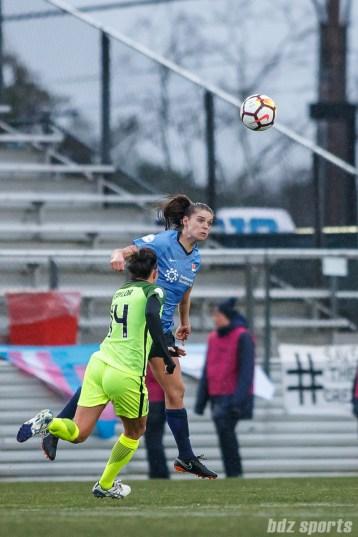 Sky Blue FC defender Erica Skroski (8) heads the ball away