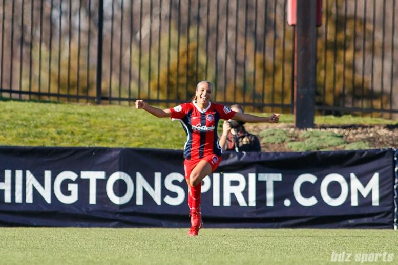 Washington Spirit forward Mallory Pugh (11) celebrates her goal in the 80th minute