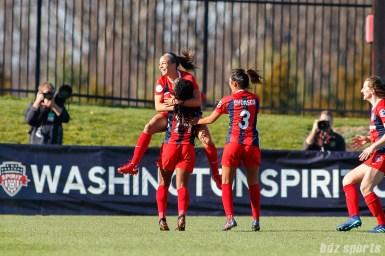The Washington Spirit celebrate forward Mallory Pugh's (11) goal