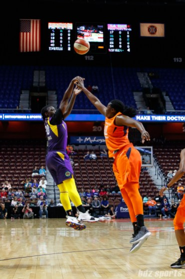 Los Angeles Sparks forward Shakayla Thomas (20) takes the shot