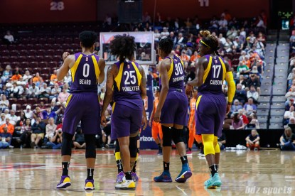Los Angeles Sparks players Alana Beard, Cappie Pondexter, Nneka Ogwumike, and Essence Carson