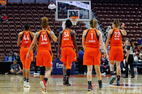 Connecticut Sun players Betnijah Laney (44), Jessica January (14), Nikki Greene (54), Rachel Banham (1), and Cayla George (23)