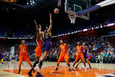 Los Angeles Sparks forward Mistie Bass (21)