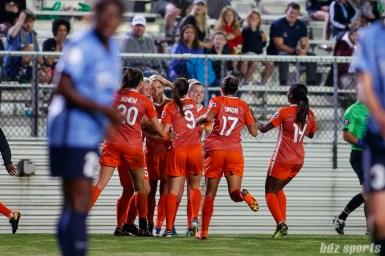 The Houston Dash celebrate forward Rachel Daly's (3) goal in the second half