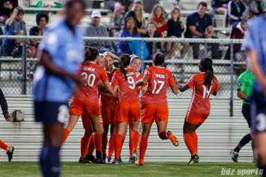 The Houston Dash celebrate forward Rachel Daly's (3) goal in the second half