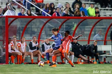 Sky Blue FC midfielder Carli Lloyd (10) and Houston Dash forward Thembi Kgatlana (11)