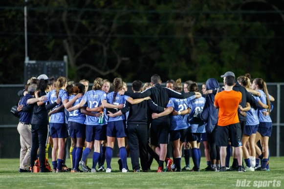 Sky Blue FC huddle after the game