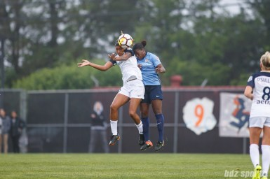 North Carolina Courage forward Jessica McDonald (14) and Sky Blue FC defender Mandy Freeman (22)