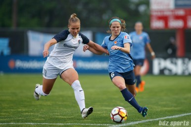 North Carolina Courage defender Merritt Mathias (11) and Sky Blue FC forward Shea Groom (6)