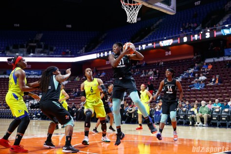New York Liberty center Tina Charles (31) with the defensive rebound