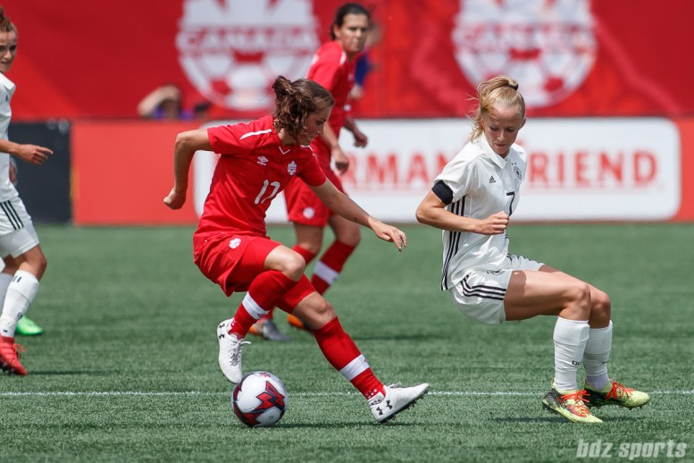Team Canada midfielder Jessie Fleming (17)
