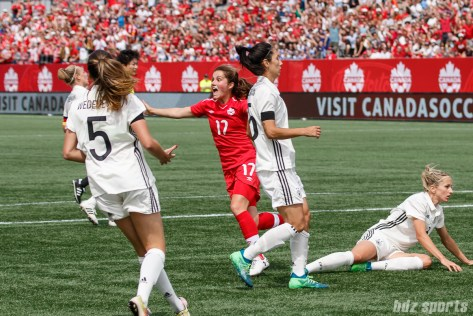 Team Canada midfielder Jessie Fleming (17) celebrates her goal